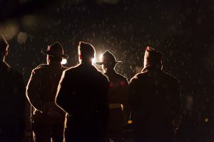 ANZAC Dawn Service soldiers in the rain in Auckland